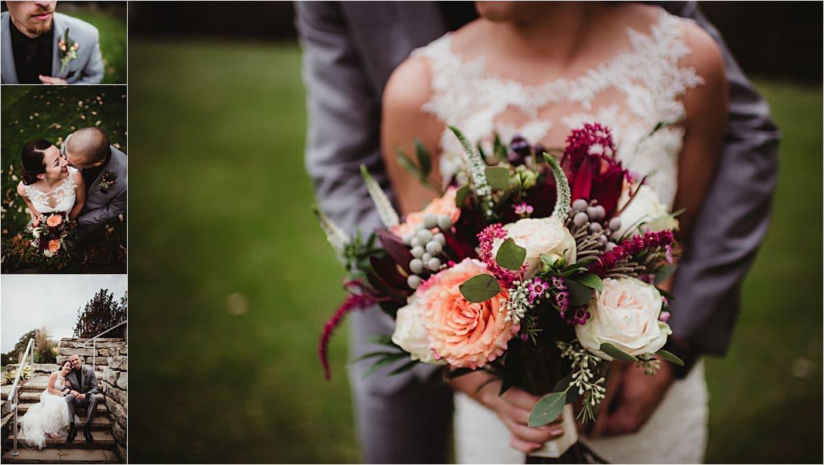 Rainy Day Wedding Bride Groom Flowers
