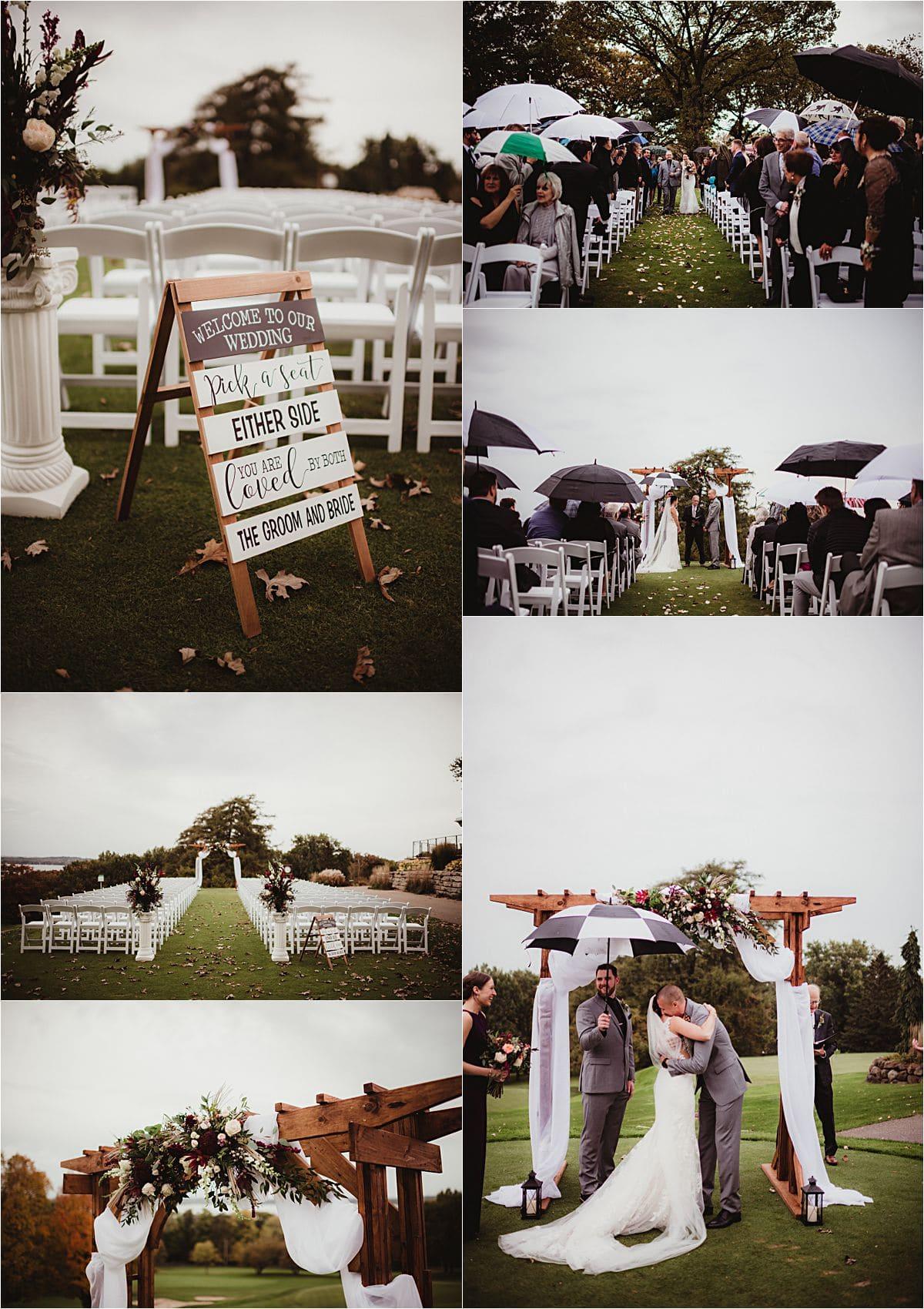 Rainy Day Wedding Ceremony Details
