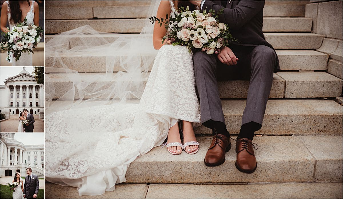 Glamorous Fall Wedding Couple at State Capitol