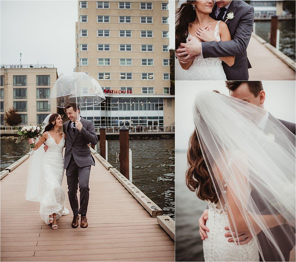 Glamorous Fall Wedding Couple in Rain at The Edgewater