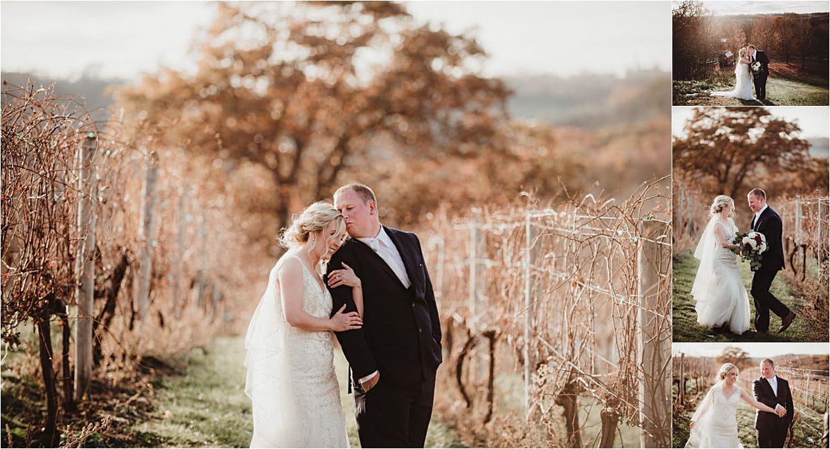 Snowy Winter Wedding Bride and Groom Field