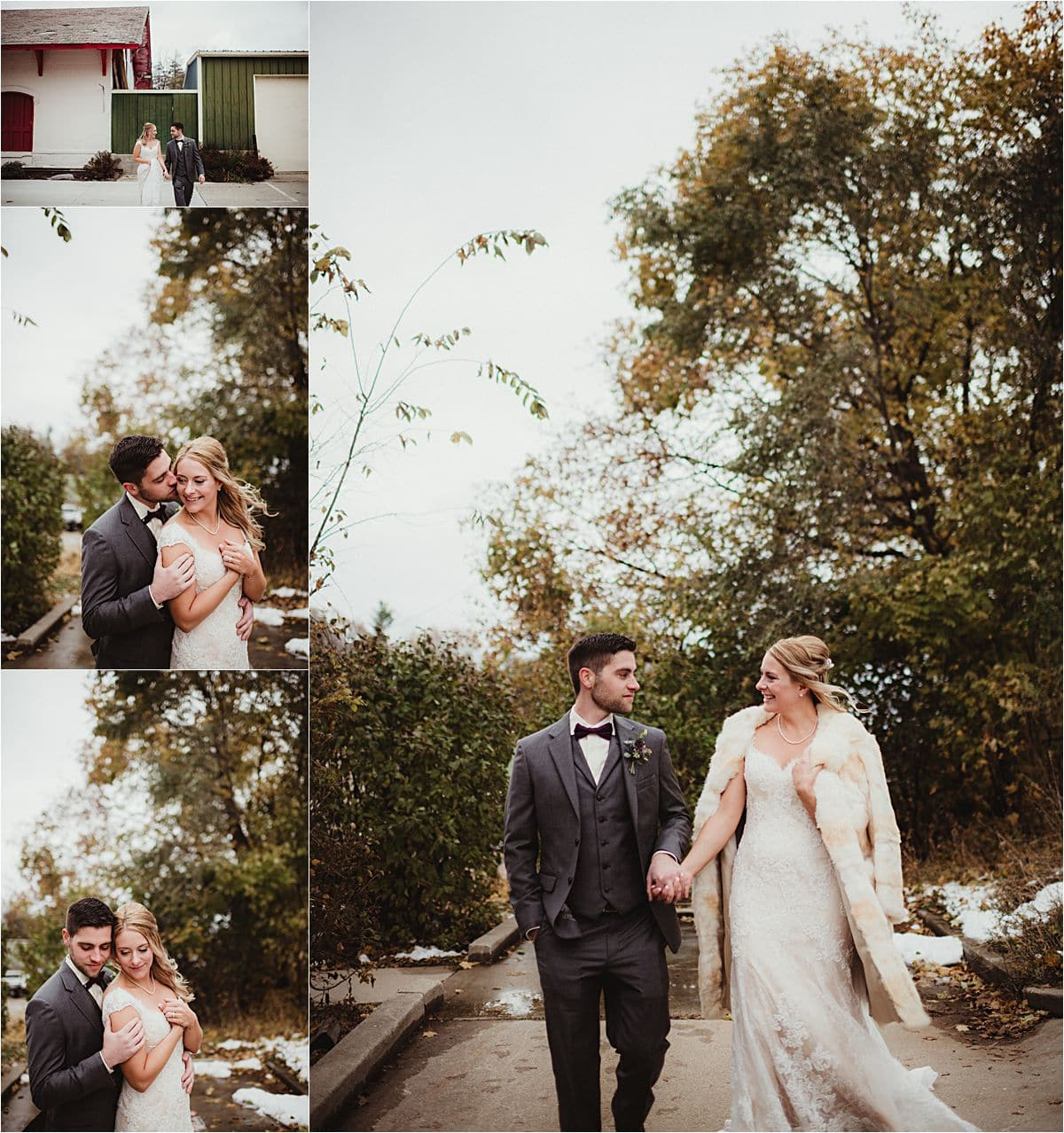 Winter Wedding Bride and Groom First Look