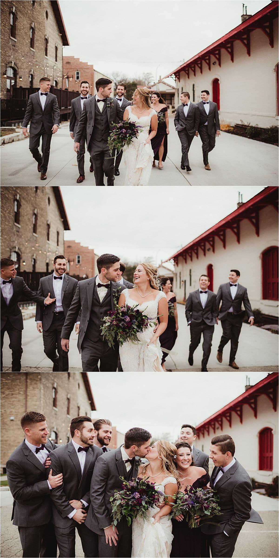 Winter Wedding Wedding Party Walking