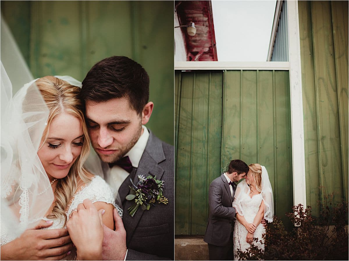 Bride and Groom with Green Building Background