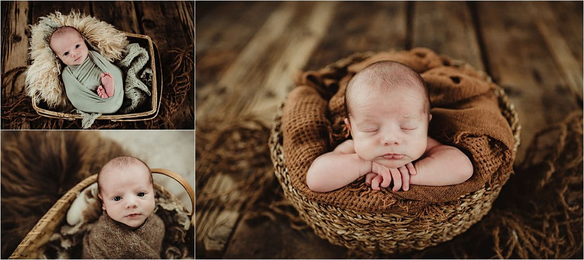 Rustic Newborn Session Baby in Baskets