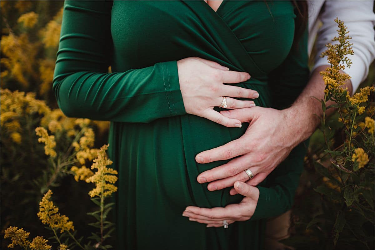 Summer Maternity Session Close Up Bump