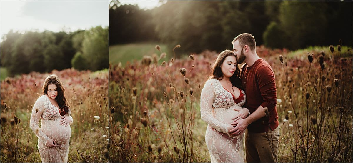 Summer Sunset Maternity Session in Field