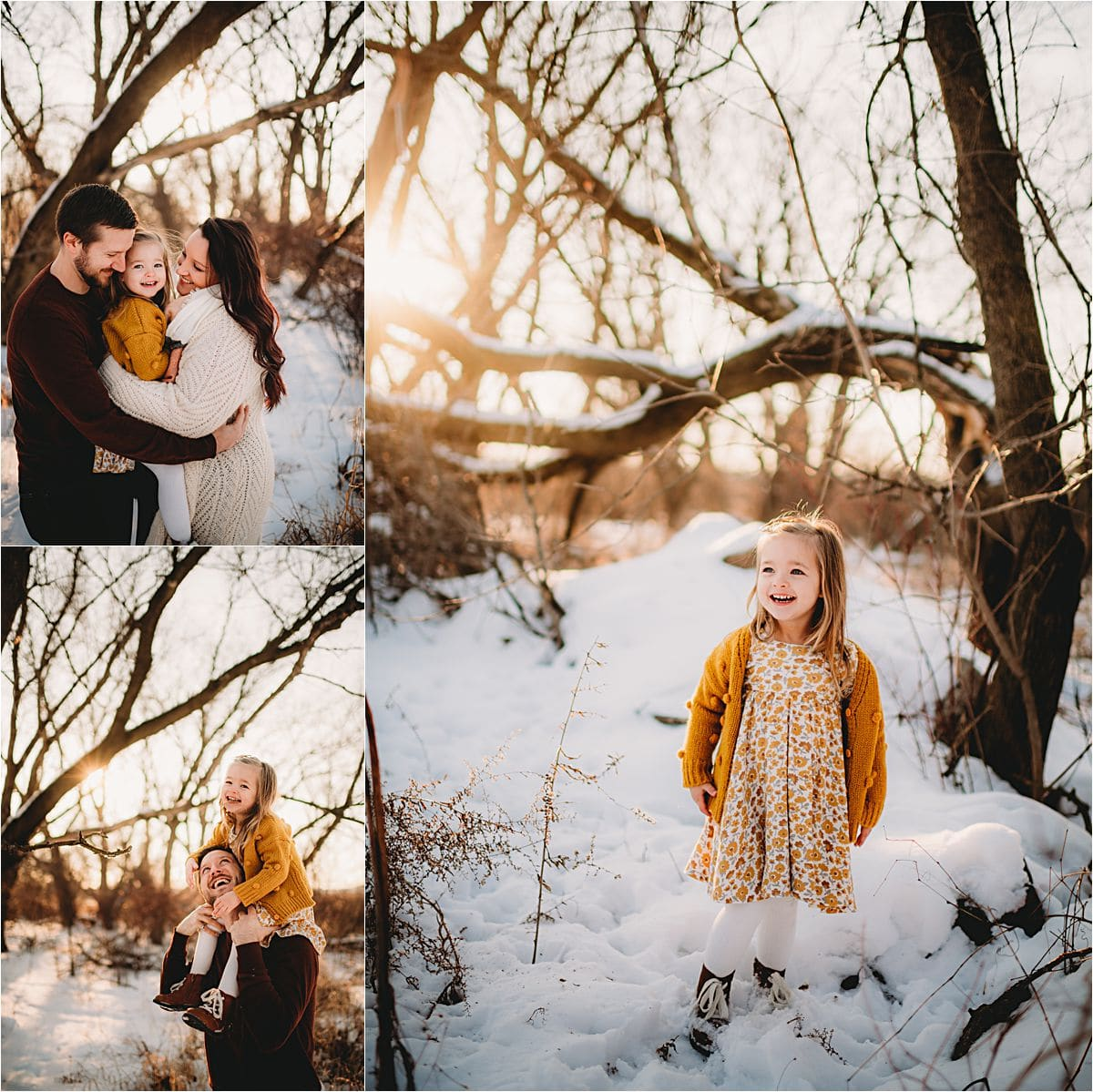 Sunset Snow Little Girl in Yellow