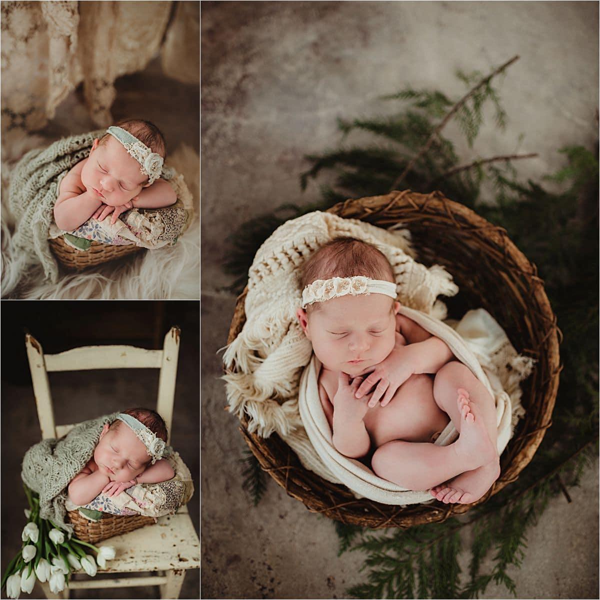 Newborn Girl in Flower Headbands