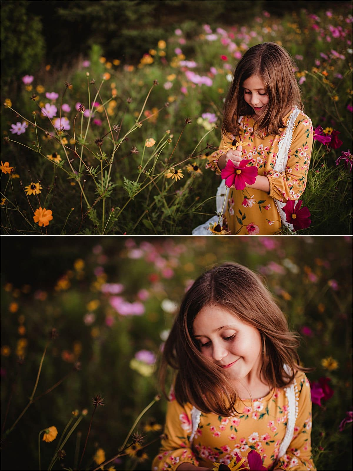 Summer Sunflower Session Girl in Wildflowers