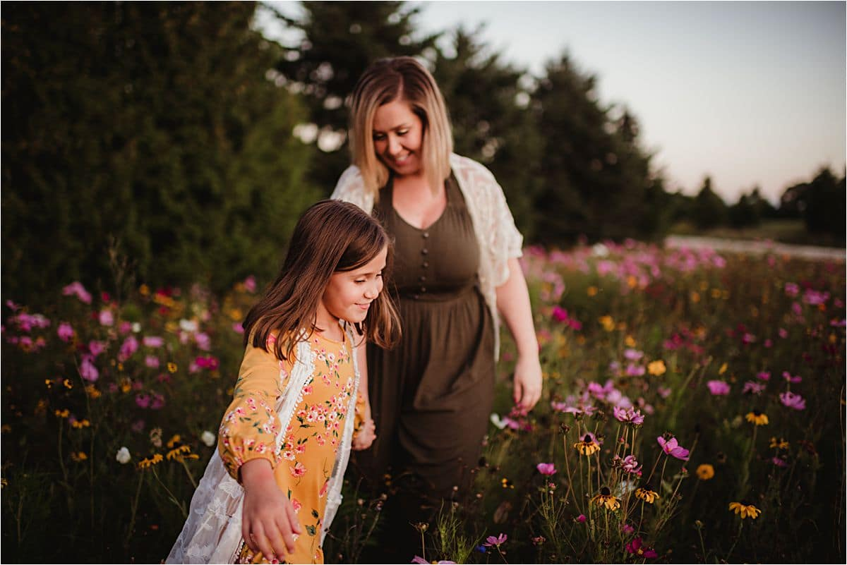 Mama and Daughter in Wild Flowers