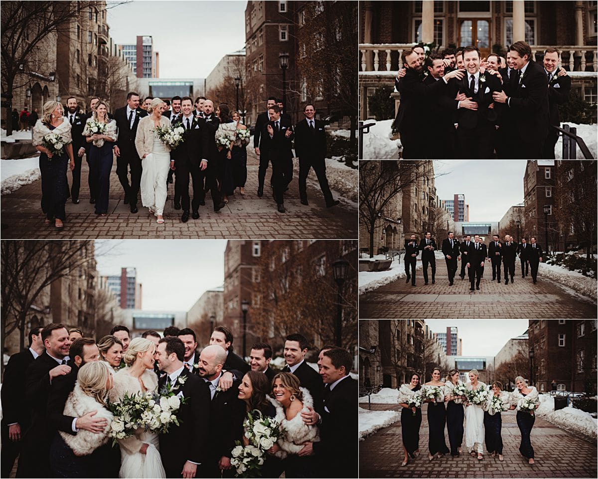 Urban Winter Wedding Wedding Party