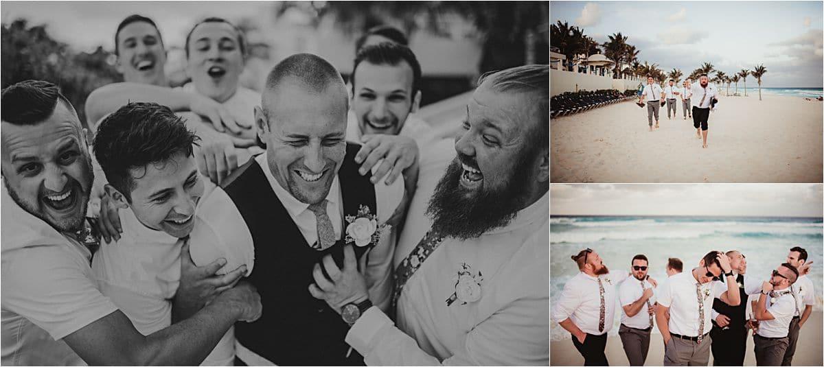 Mexico Beachfront Wedding Groom with Groomsmen
