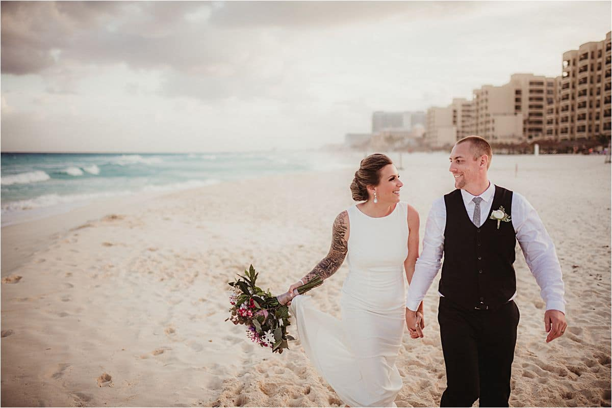 Mexico Bride and Groom Walking on Beach