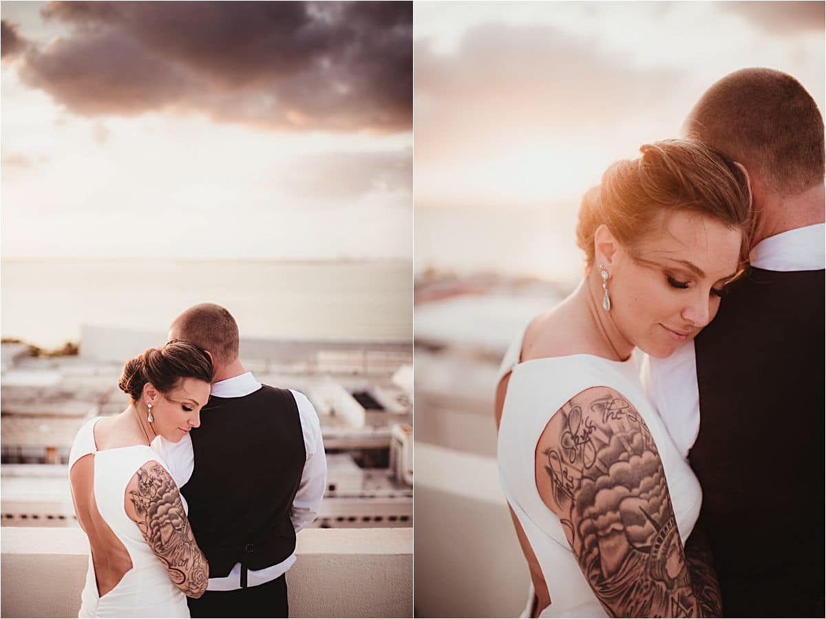 Mexico Beachfront Bride and Groom at Sunset