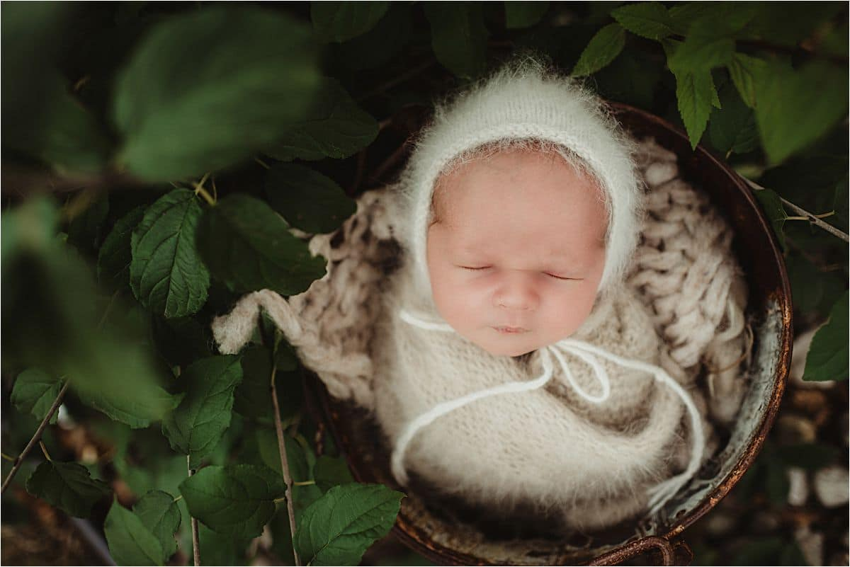 Newborn Outside in Greenery