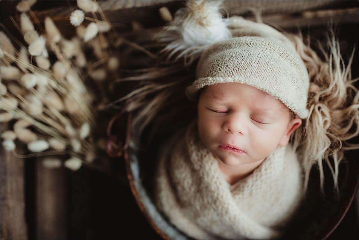 Newborn Boy Studio Session Boy in Fuzzy Hat