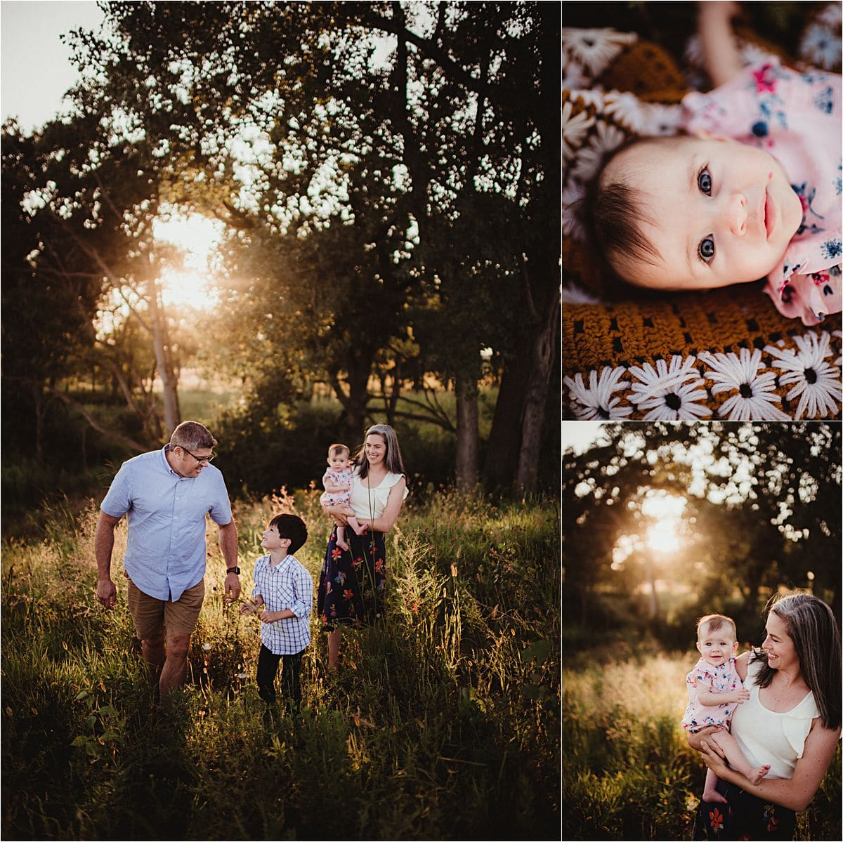 Fall Sunset Session Family in Woods