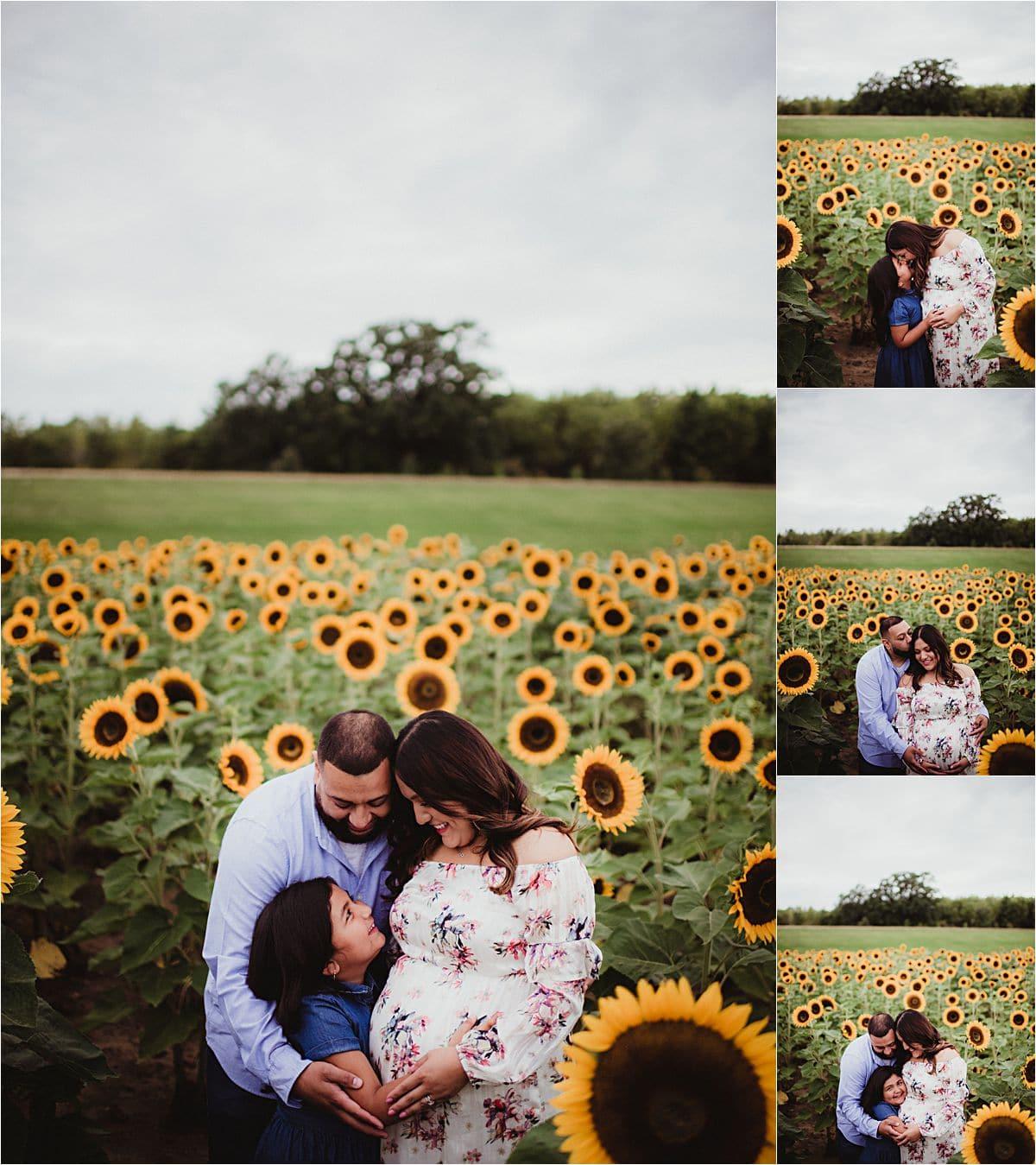 Family in Sunflower Field