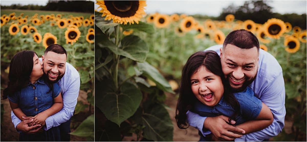 Dad Hugging Daughter Sunflower Field