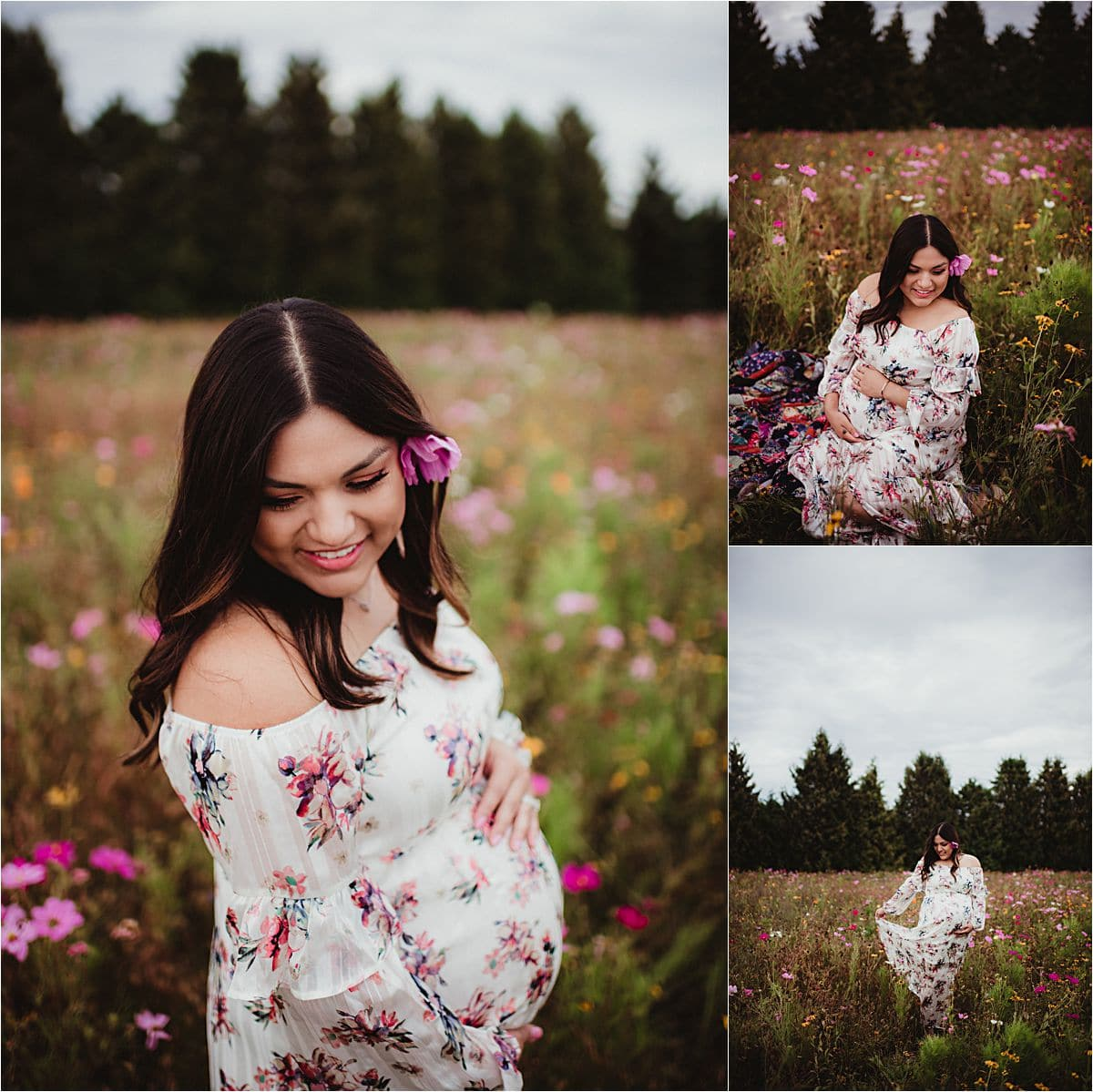 Wildflower Maternity Session Mama in Field