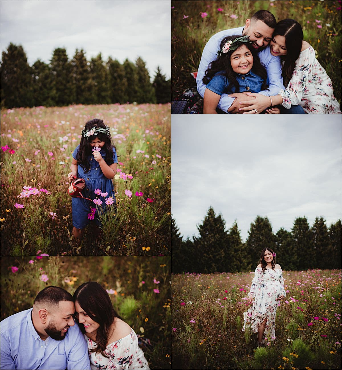 Wildflower Maternity Session Family in Flowers