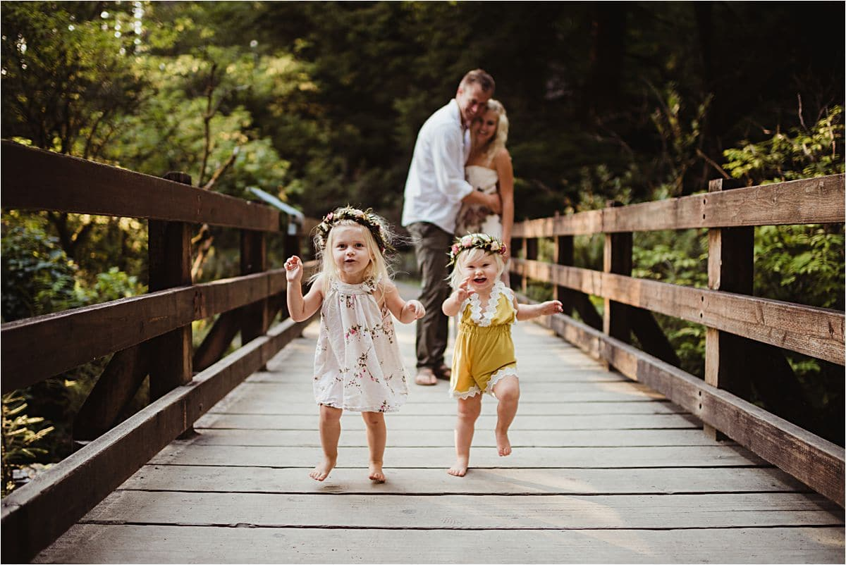 Sunset Forest Family Session on Bridge