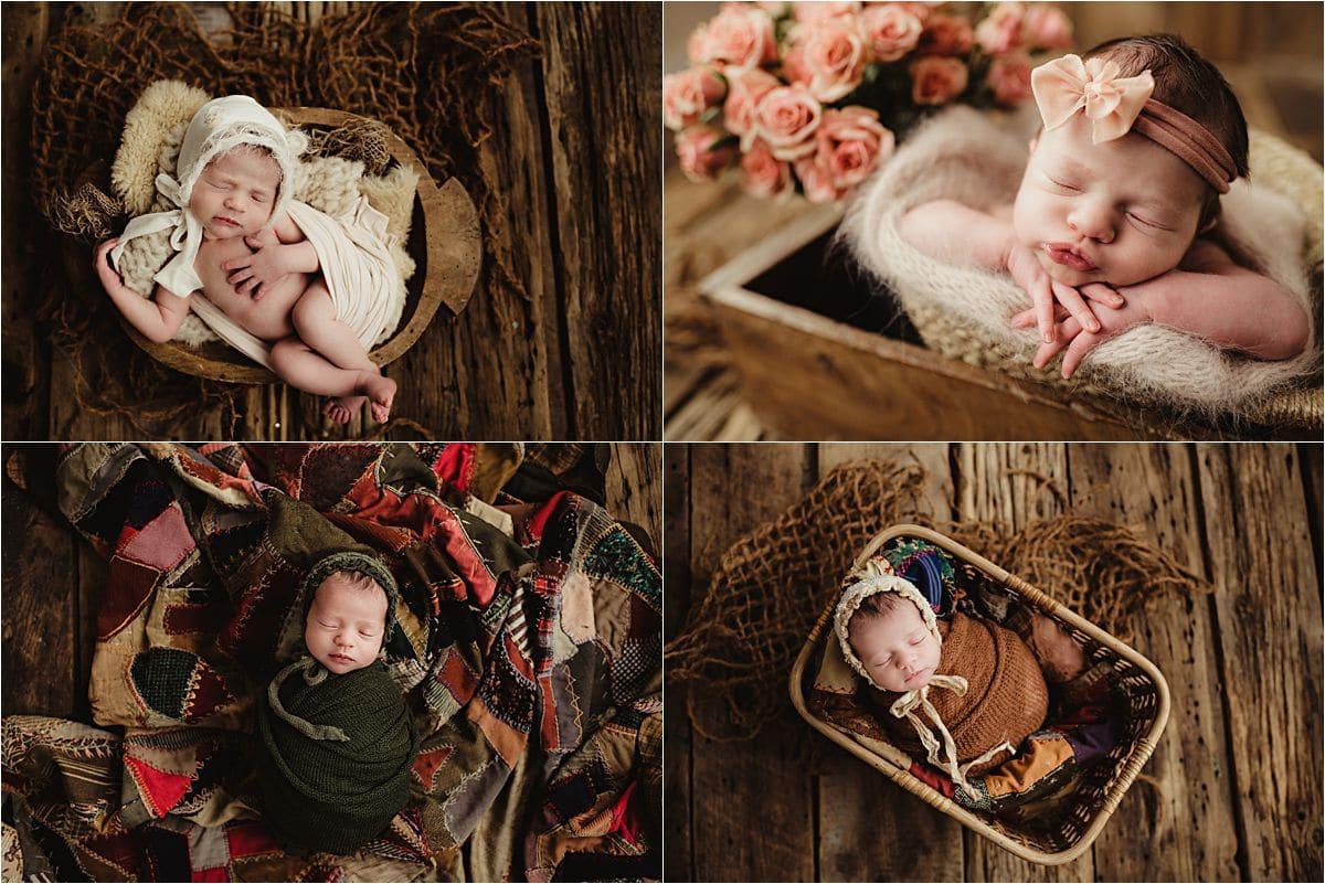 Boho Newborn Girl Session Girl in Wraps