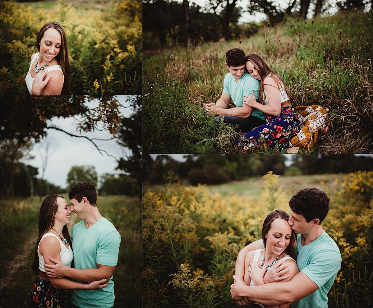 Nature Preserve Engagement Session Couple in Flower Field
