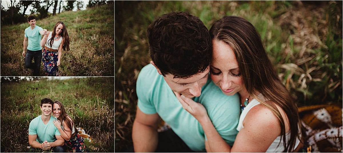 Nature Preserve Engagement Session Couple Snuggling on Blanket