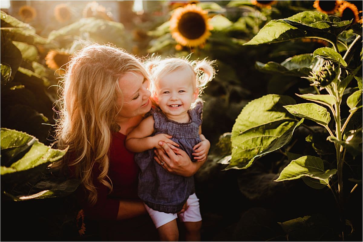 Sunset Sunflower Session Mom and Daughter