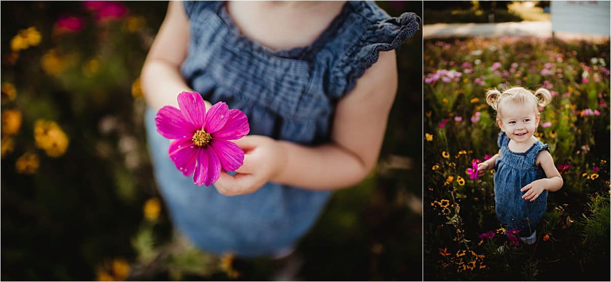 Close Up Little Girl in Flowers