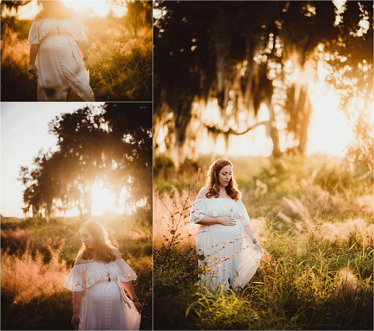 Sunset Maternity Session Woman in Field