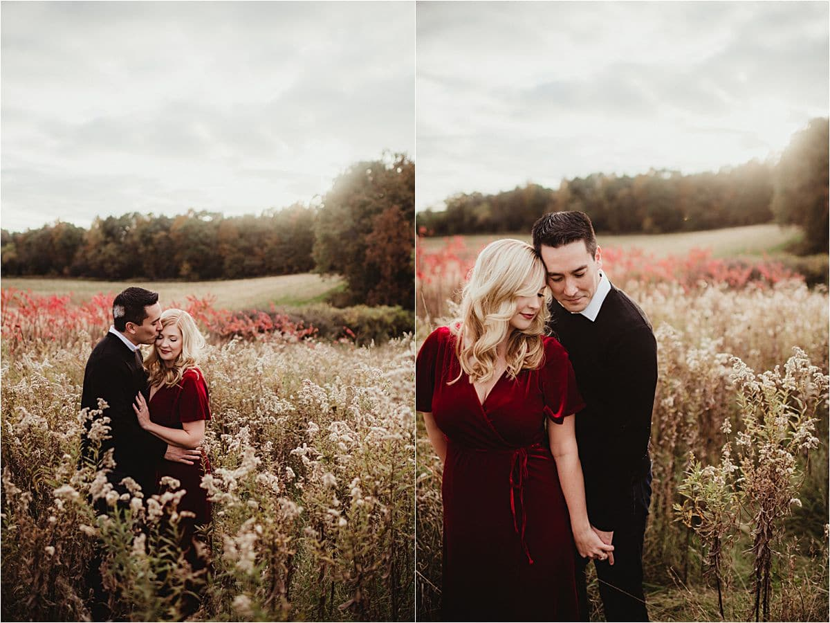 Jewel Tones Engagement Session Couple in Field