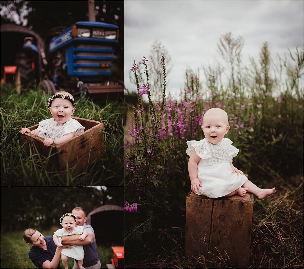 Baby Girl in Flower Field