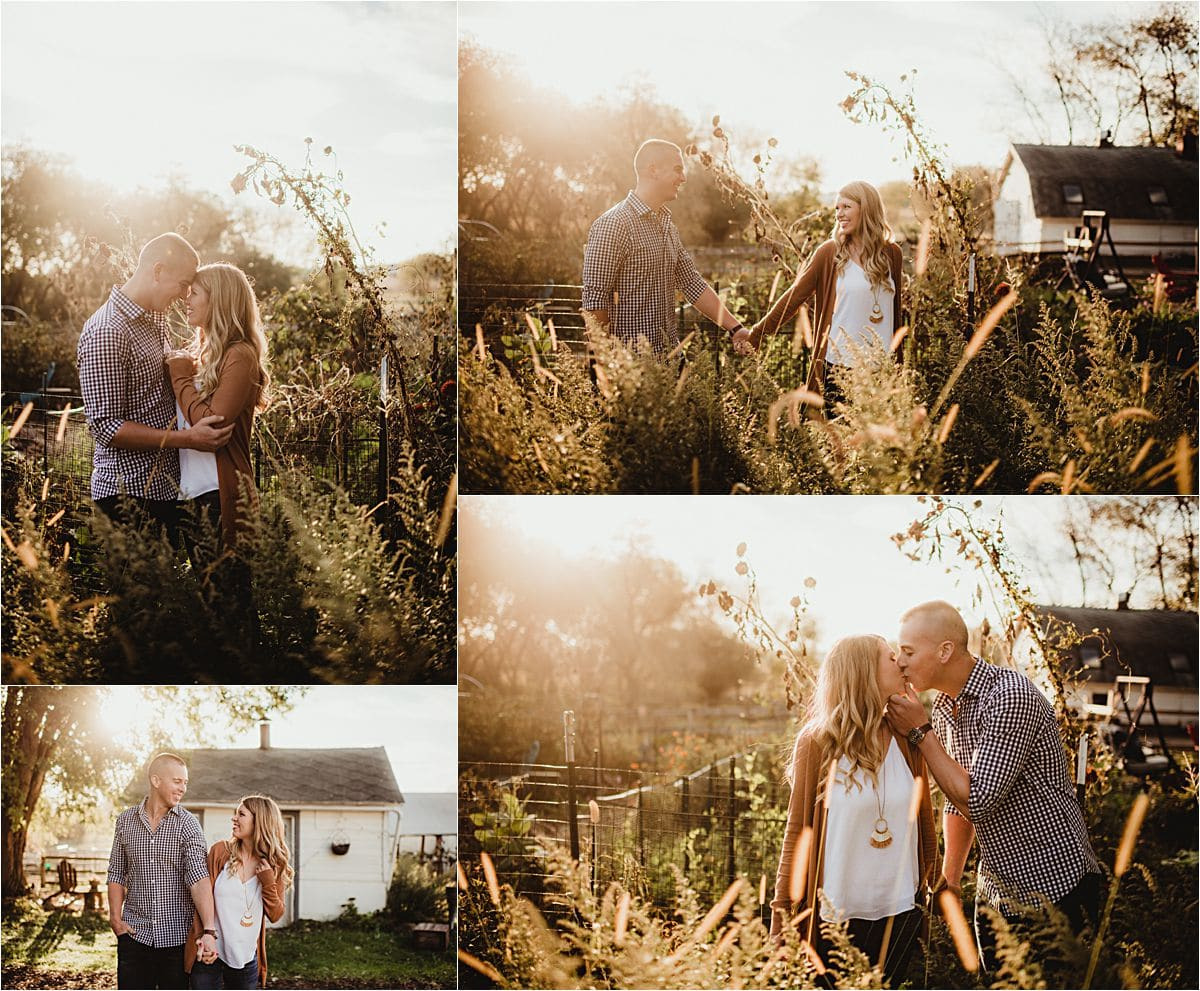 Crisp Fall Engagement Session Couple in Field at Sunset