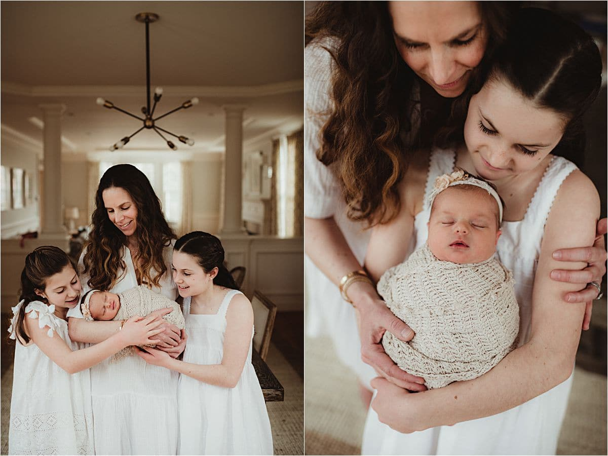 Lifestyle Newborn Session Mama with Daughters