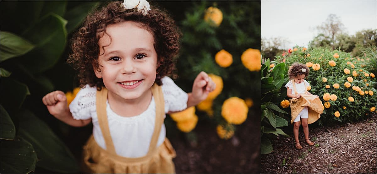 Fall Garden Family Session Little Girl Flowers
