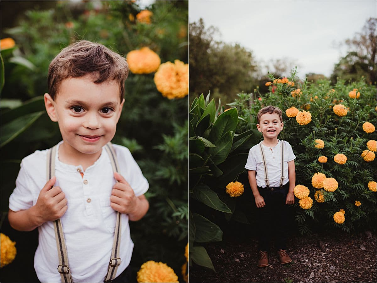 FalL Garden Family Session Boy Flowers