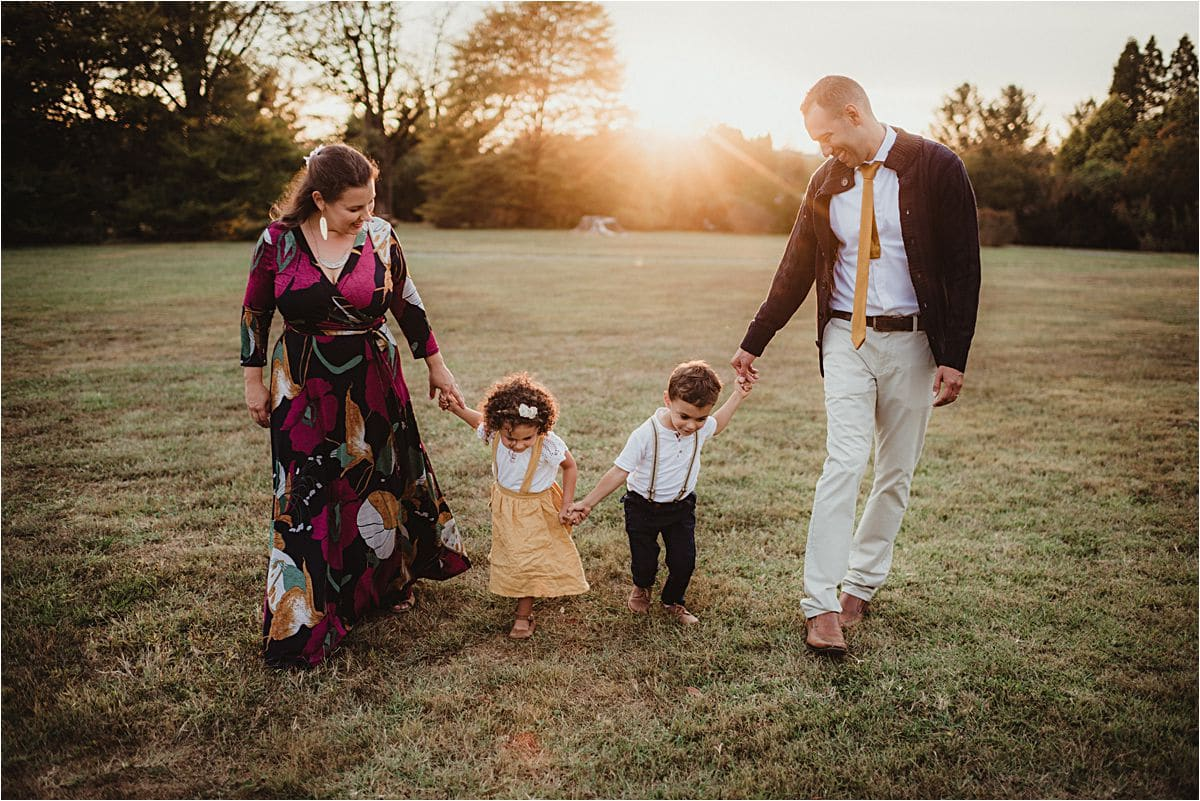 Fall Garden Family Session at Sunset