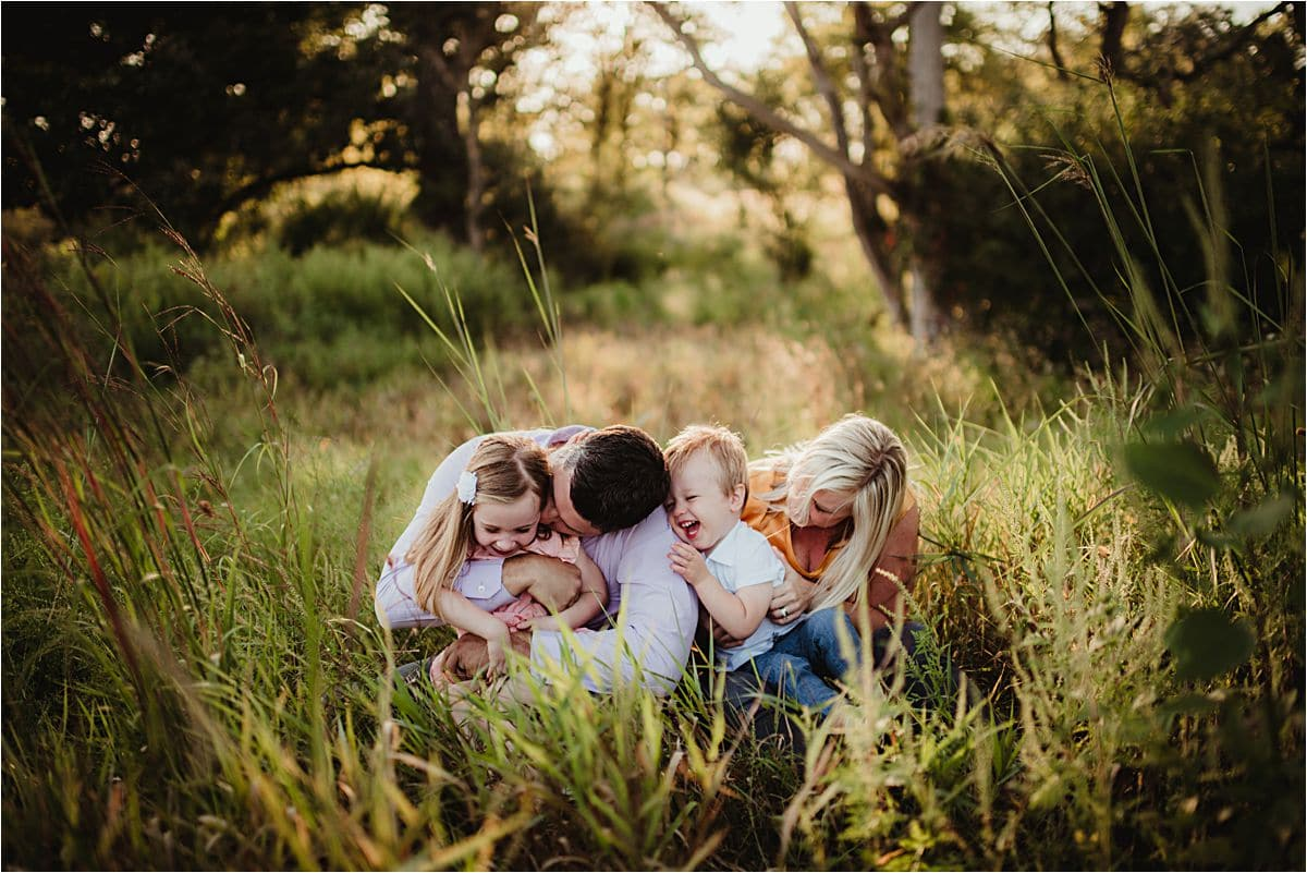Late Summer Sunset Family Session Family Snuggling