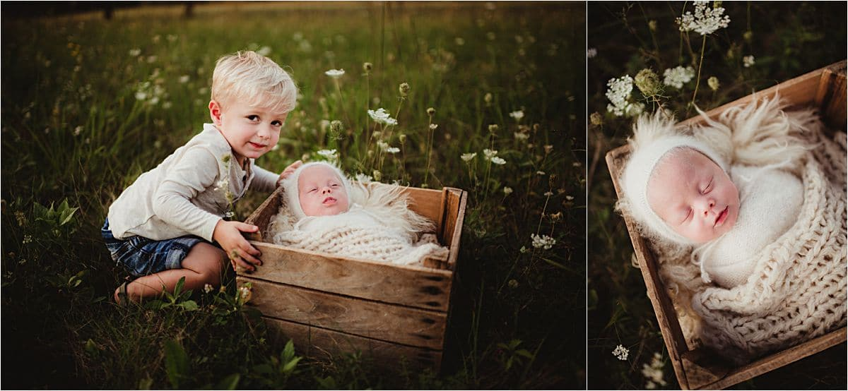 Newborn with Family Session Brothers