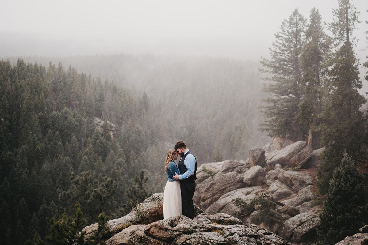 Wedding Couple on Mountain