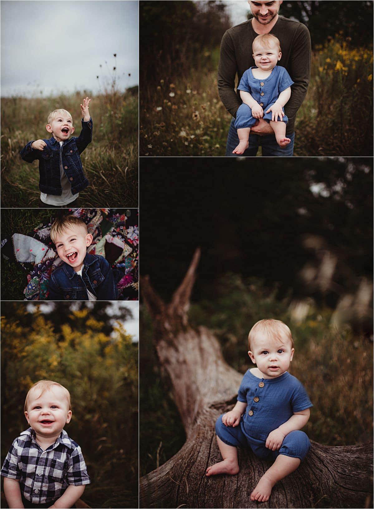 Outdoor Milestone Session Collage of Kids Portraits
