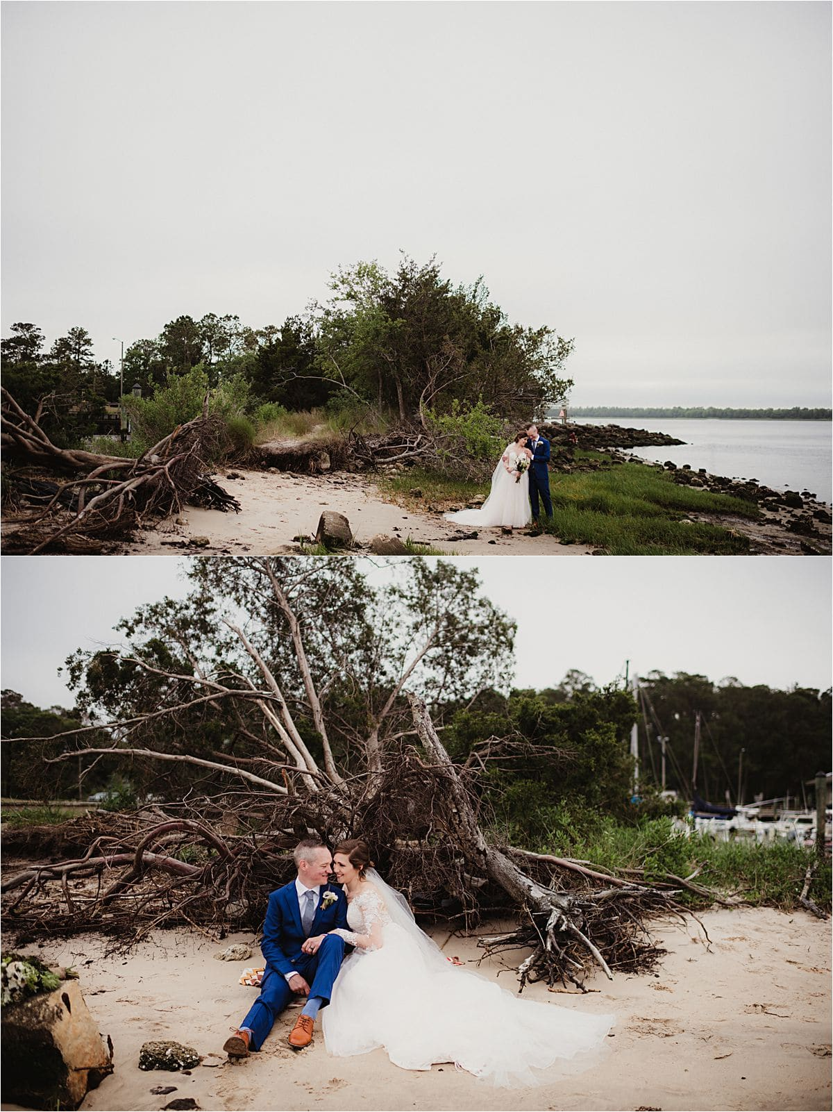 Coastal Beachfront Wedding Couple on Sand