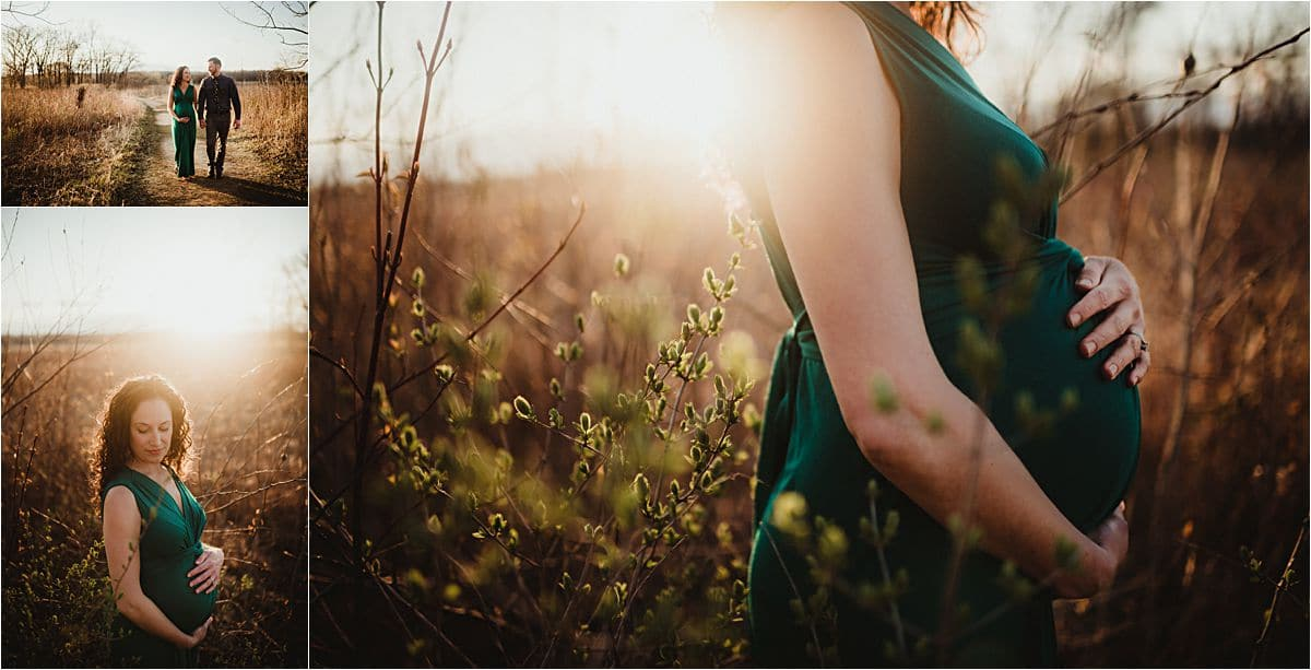 Sunset Spring Maternity Session Close Up Baby Belly
