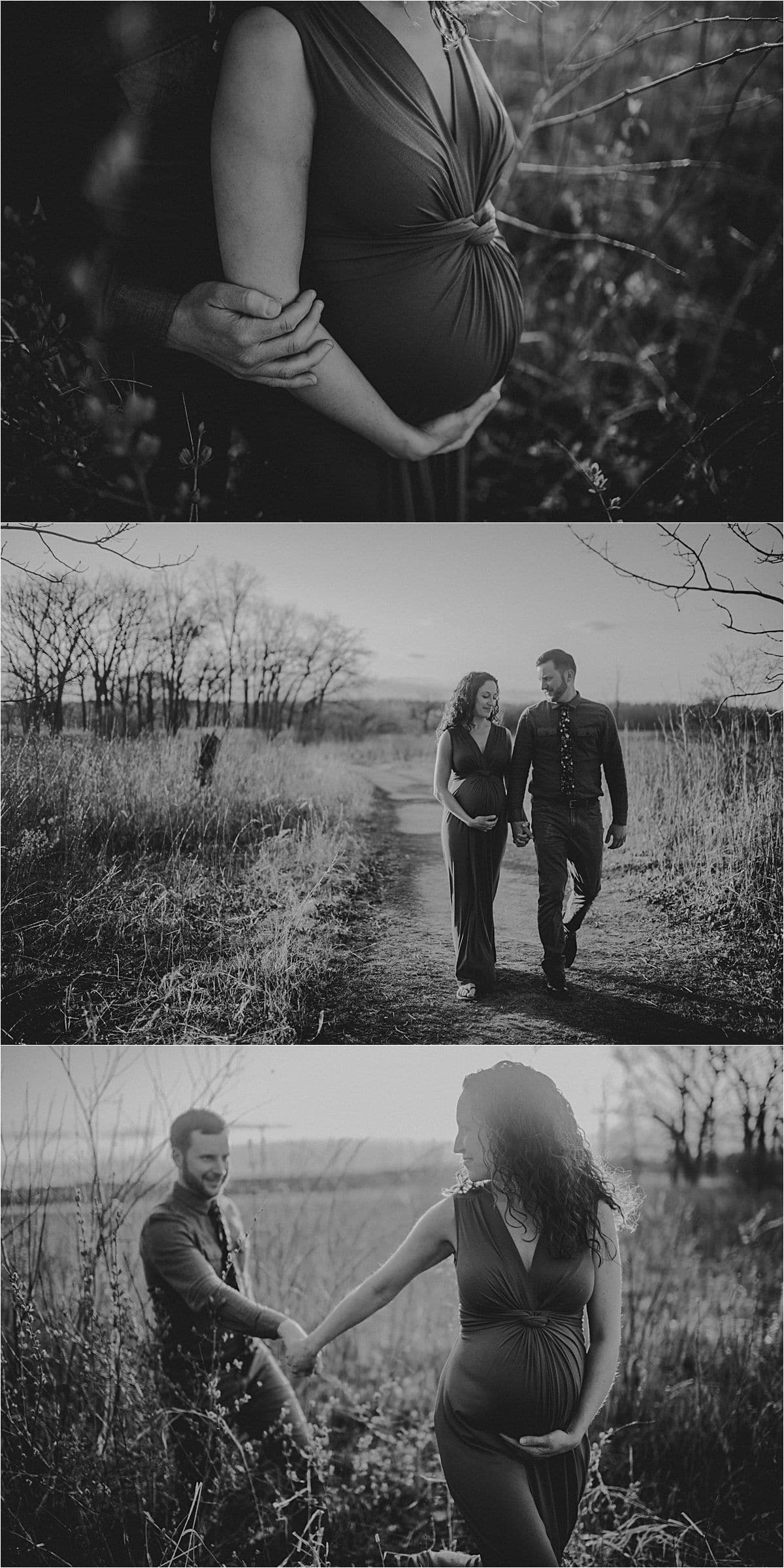 Black and White Images Pregnant Couple