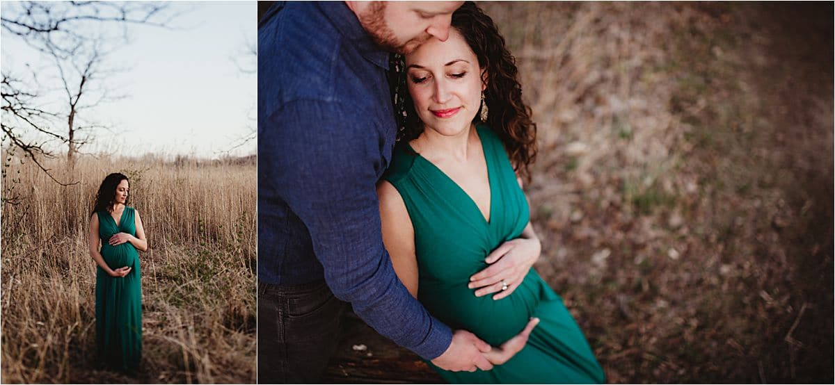 Sunset Spring Maternity Session Close Up Couple Snuggling