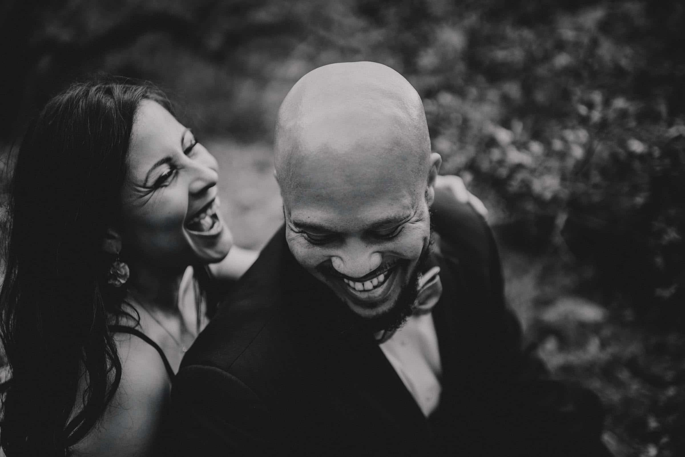 Black and White Image Couple Laughing