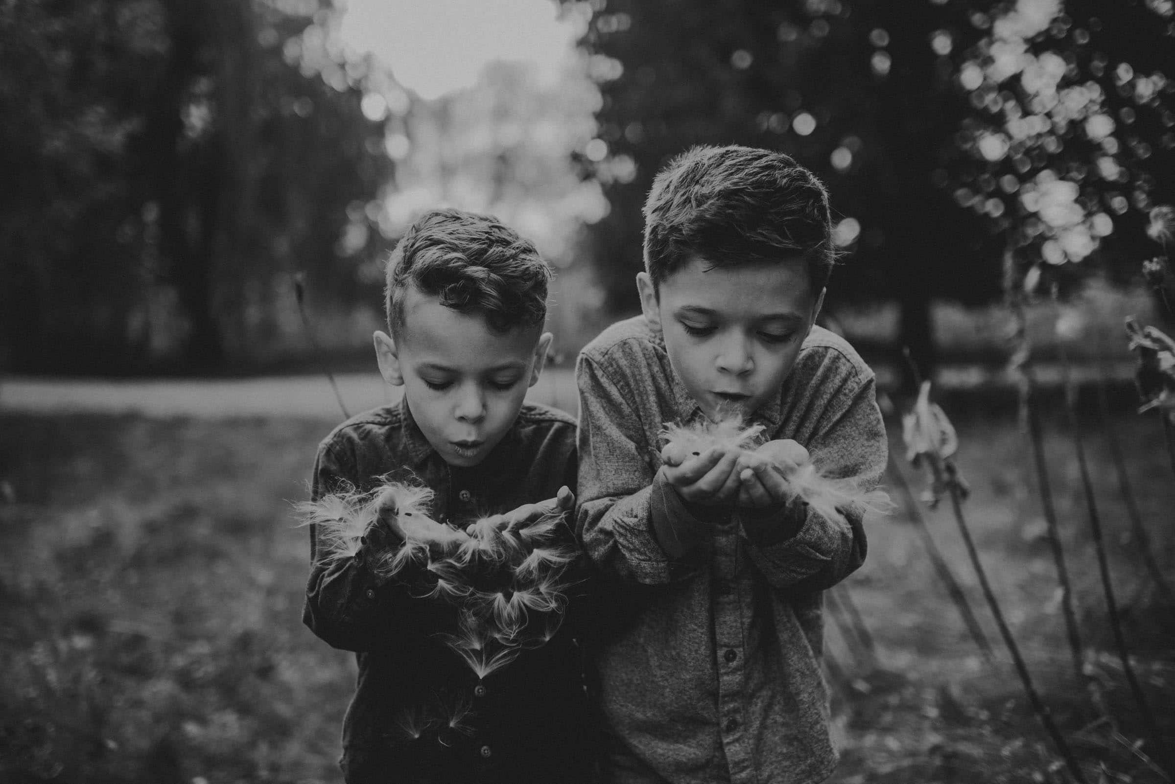 black and white photo of boys